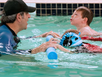 Children learning to take a breath at Shapland Swim Schools