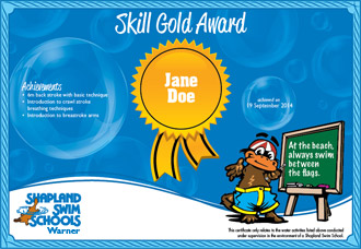 Shapland Swim Schools Certificate of Achievement