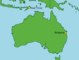 Map showing Australia and East Timor